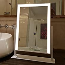 ZnzbztNew Product fold large vanity mirror LED makeup mirror square with light-color touch dimming make-up of dedicated, Silver +__LW_NL__YELLOW neutral third non-polarity 50×60 dimming