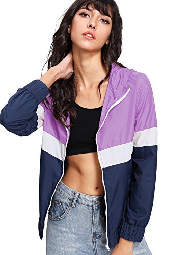 Purple Windbreaker - Floerns Women's Color Block Hooded Casual Thin Windbreaker jacket Blue Purple S