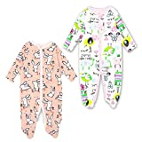 Monvecle Baby Girl 2 Pack Cotton Long Sleeve Footed Sleeper Pajama Onesies Romper Pink 3M