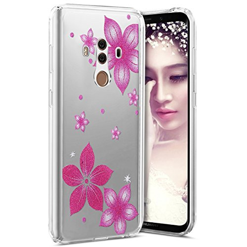 Huawei Mate 10 Pro Case, Surakey TPU Silicone Case Transparent Clear Ultra Thin Clear Soft Case Flowers Butterfly Pattern Glittering Glitter Crystal Case Cover for Huawei Mate 10 Pro - Roses ()