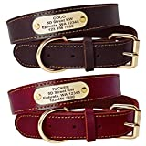 Beirui Genuine Leather Personalized Dog Collars with Nameplate ID Tags, Custom Dog Collars Engraved for Medium Large Dogs,Rich Brown,L(1.3