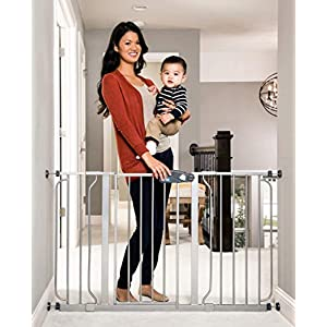 Regalo Easy Step 49-Inch Extra Wide Baby Gate, Includes 4-Inch and 12-Inch Extension Kit, 4 Pack of Pressure Mount Kit and 4 Pack of Wall Mount Kit, Platinum 99