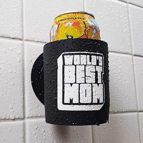Worlds Best Mom - Shower Beer Holder for in Shower Use, Keeps Beer Cold and Hands Free