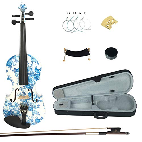 Kinglos 4/4 White Blue Flower Colored Ebony Fitted Solid Wood Violin Kit with Case