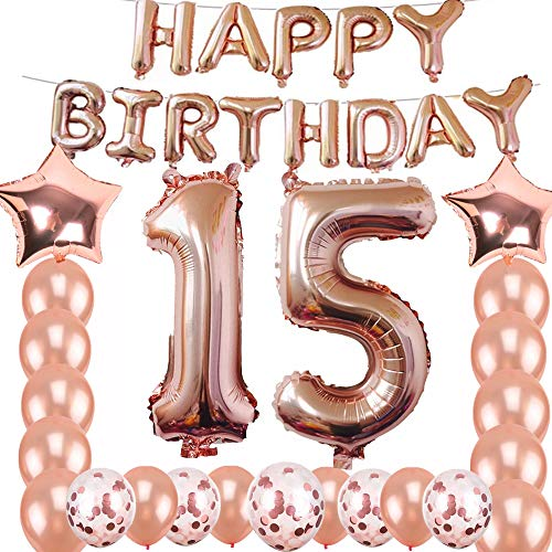 15th Birthday Decorations Party Supplies, Jumbo Rose Gold Foil Balloons for Birthday Party Supplies,Anniversary Events Decorations and Graduation Decorations Sweet 15 Party,15th Anniversary ()