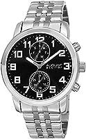 August Steiner men's black dial stainless steel analog watch - AS8175SSB