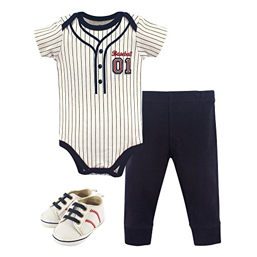 Little Treasure Unisex Baby Cotton Bodysuit, Pant and Shoe Set, Baseball Short-Sleeve, 0-3 Months