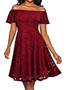 Tempt me Lace Dress Sexy Cocktail Off Shoulder Prom Formal Midi Dress for Women