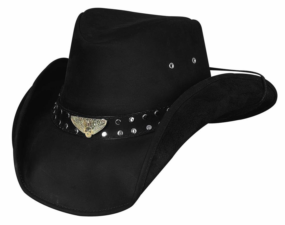Bullhide Montecarlo Born to Ride Top Grain Leather Western Hat w Skull and Wings Concho Large