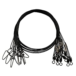 20pcs Fishing Wire Leaders Heavy Duty Fishing Stainless Steel Wire Leaders 150lb High Strength Fishing Leaders With Swivels & Snaps Blackredgreen (Black Leader)