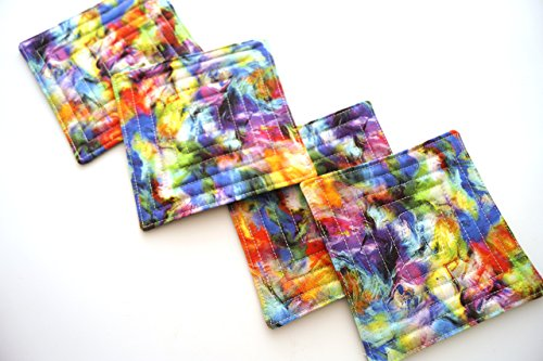 Drink Swirl Coasters (Abstract Swirl Fabric Quilted Coasters Set)
