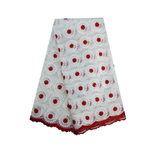 LaceQin 5 yards African Net Lace Swiss Voile Lace Embroidery and Rhinestones Cord Lace 5 Colors. (Red)