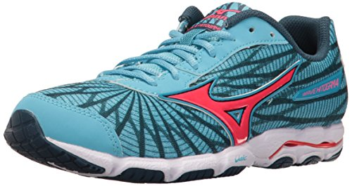 Mizuno Women Wave Hitogami 4 Running Shoe, Malibu Blue/Pink, 7 B US ()