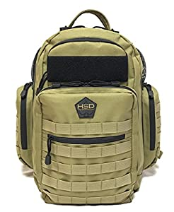 HSD Tactical Diaper Bag Backpack + Changing Pad, Insulated Pockets, Stroller Straps