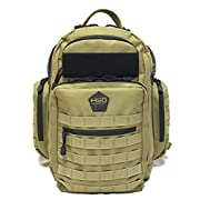 HSD Tactical Diaper Bag Backpack + Changing Pad, Insulated Pockets, Stroller Straps (Coyote Brown)