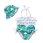 Hotwon Baby Girl Leaf Swimsuit Ruffles Swimwear Halter Bathing Suit One Piece Bikini With Sun Hat For Toddler Girls Beach Wear (Green, 6-12 Months)