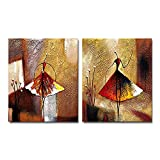Wieco Art Ballet Dancers Contemporary Abstract Oil Paintings on Canvas Wall Art 2 Piece Modern 100% Hand Painted Decorative People Artwork Ready to Hang for Home Decoration Wall Decor