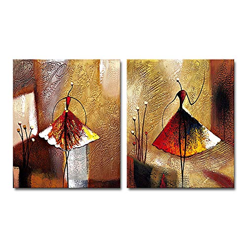 (Wieco Art Ballet Dancers 2 Piece Modern Decorative Artwork 100% Hand Painted Contemporary Abstract Oil Paintings on Canvas Wall Art Ready to Hang for Home Decoration Wall Decor)
