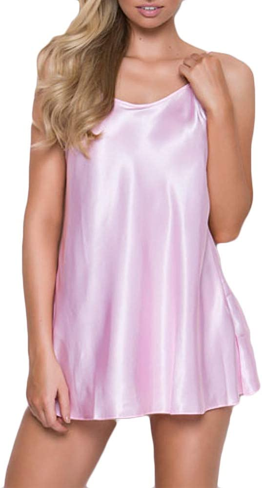 Shiyingl Short Length Satin Chemise Teddy Sleepwear Nightgown Nightie Full Slip Dress Babydoll Nightwear