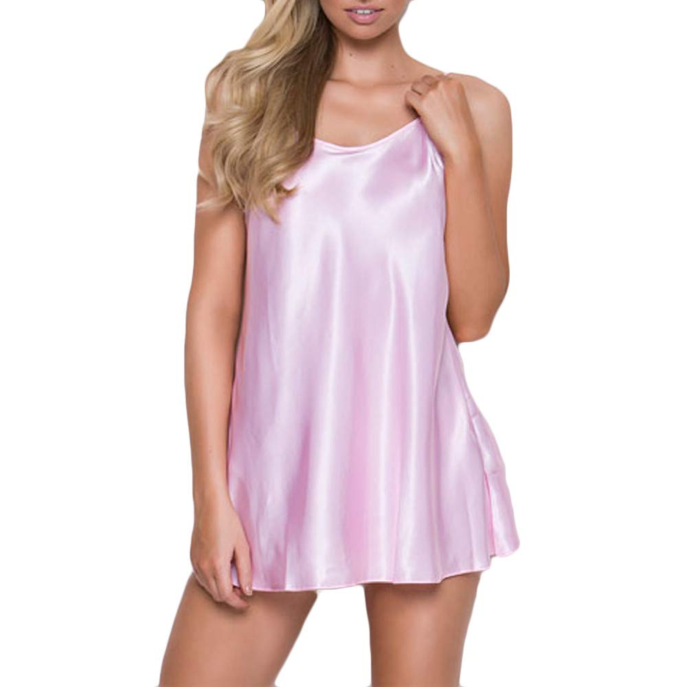 JFLYOU Womens Plus Size Lingerie for Sex Babydoll Nightwear Super Soft Nightegown(Pink,XL) by JFLYOU (Image #1)