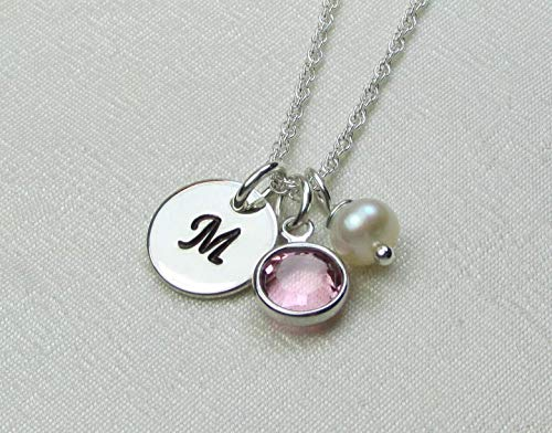 Personalized Necklace with Birthstone Sterling Silver Initial Necklace Custom Mothers Necklace Monogram Jewelry Bridesmaid Gift Idea New Baby Gift for Mom