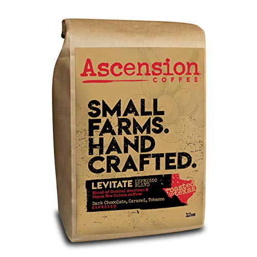 Ascension Levitate Espresso Blend, Central American and Papua New Guinea Origin, Fresh Roasted Ground Coffee Beans, 12 oz Bag