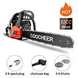 20' Chainsaw 62CC Powerful Gas Chainsaw 2 Stroke Handed Petrol Chain Saw Woodcutting Saw with Tool Kit and Store Bag