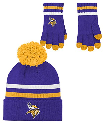 Glove Vikings Minnesota (NFL Boys (4-7) 2 Piece Knit Hat and Gloves Set-Regal Purple, Minnesota Vikings-One Size)
