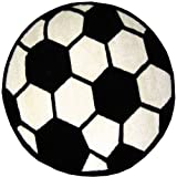 FindingKing Round Soccer Ball Area Rug 39''