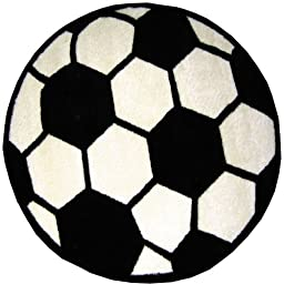 Round Soccer Ball Area Rug 39\