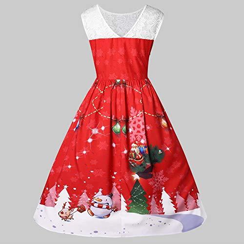 YOCheerful Women Vintage Dresses Plus Size O-Neck Santa Claus Print Christmas Lace Dresses Elegant Dresses(Red, XXXL)(Red, 3XL)