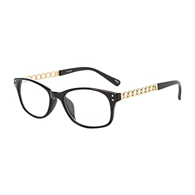 00b0ba4c5960 Amazon.com  Icing Women s Black Rectangle Frames with Gold Chain Arms   Icing  Jewelry