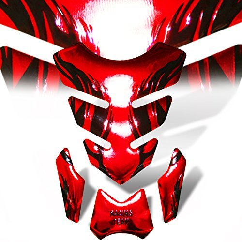 3D Gel Fuel/Gas Tank Pad Protector Decal/Sticker Chromed Red + Black Tribal Fire
