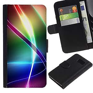 Paccase / Billetera de Cuero Caso del tirón Titular de la tarjeta Carcasa Funda para - Iridescent Rainbow Pattern - Samsung Galaxy S6 SM-G920