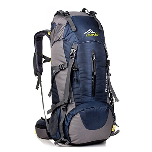 Hiking Backpack 50L Travel Daypack Waterproof with Rain Cover for Climbing Camping Mountaineering by Loowoko(Dark Blue)) Large Hiking Backpack