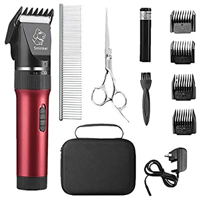 Sminiker Low Noise Cat and Dog Clippers Rechargeable Cordless Pet Clippers Grooming Kit with Storage Bag 5 Speed Professional Animal Clippers Pet Grooming Kit