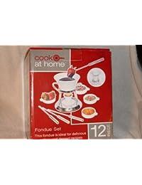 Purchase 12 Piece Ceramic Fondue Set- Chrome Plated Metal Stand, 1 Quart Ceramic Pot, Ceramic Tea Light Holder, 4 Fondue... compare