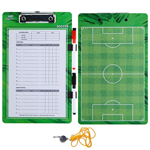 Soccer Coaches Dry Erase Clipboard - Double Sided Lineup Coach Whiteboard Bundled with Whistle and Dry Erase Markers - Coaching Equipment Playbook Board Gear - Great Tools for Coaching Tactics
