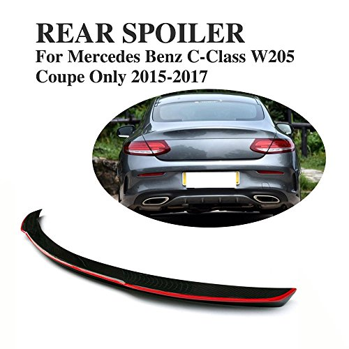 JCSPORTLINE Carbon Fiber Rear Trunk Spoiler Wing for Mercedes Benz C-Class W205 Coupe 2015-2017
