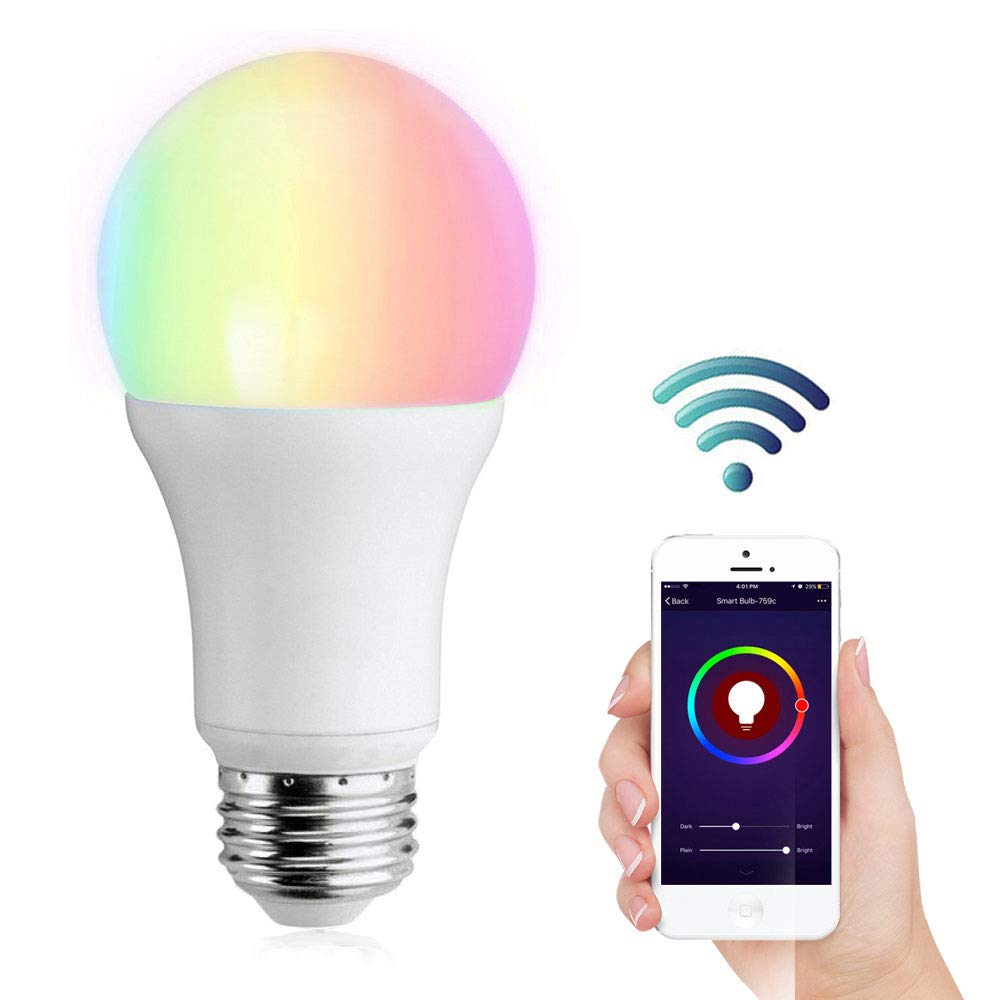 9W 800LM Kompatibel mit  Alexa Helligkeits Kontrolle YAPMOR Alexa Smart Gl/ühbirne E27 Wifi Smart Lampe Fernbedienung /über App von IOS und Android 9W E27 Google Home /& IFTTT