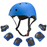 Dostar Kids Helmet Knee Pads for 3-10 Years Toddler Helmet, 7 Pcs Outdoor Sports Protective Gear Set Bike Hoverboard Cycling Scooter Skateboard Adjustable Helmets for Kids (Blue)