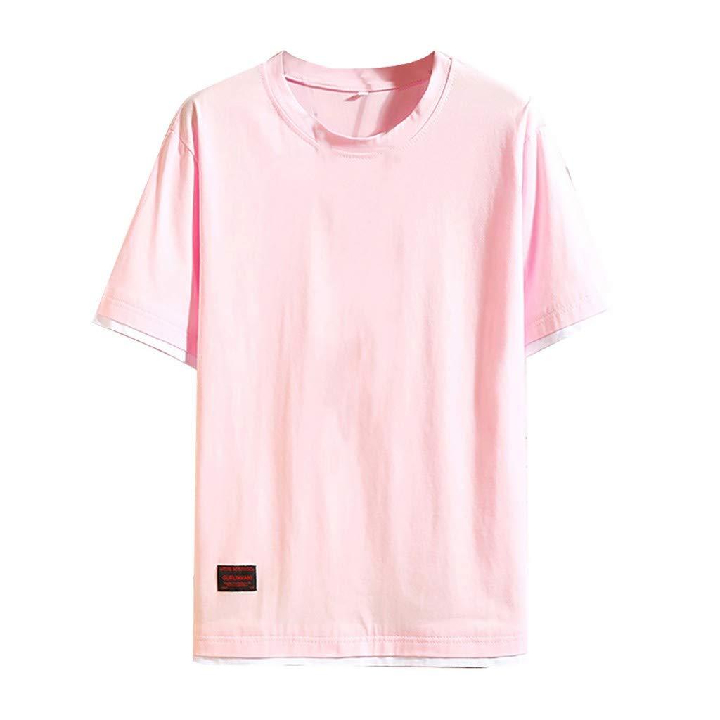 Yajiemen Mens Summer Casual Fashion Solid Color O-Neck Short Sleeve T-Shirt Top Blouse