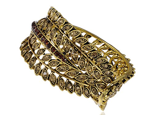 Alilang Crystal Rhinestone Feather Leaf Design Golden Tone Bracelet Bangle Cuff
