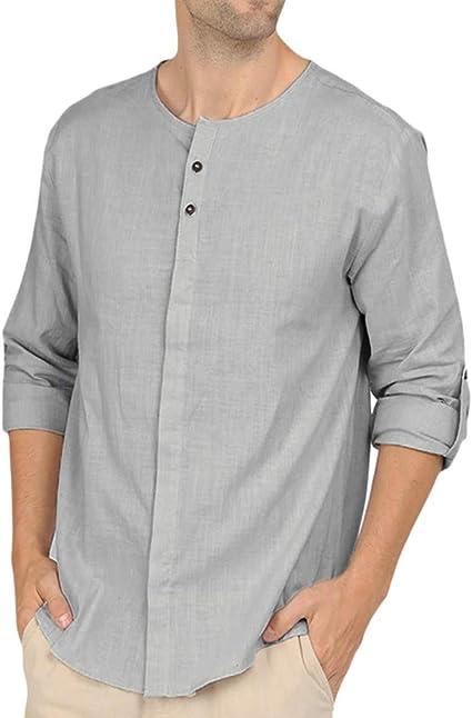 2019 Camisa Hombre Blusa,🍒 Madeuf 🍒 Hombre Cuello En V Camisetas Manga Larga Botón En Slim para Camisa Ocio Color Sólido La Moda Blusa Superior Retro Henley Camisas 5 Colores S-2XL: Amazon.es: