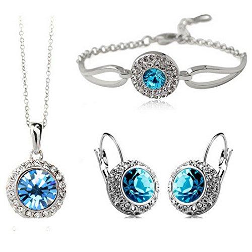 MAFMO White Platinum Plated Crystal Round Shaped Necklace Bracelet Earrings Set Women Fashion Jewelry (Light Blue)