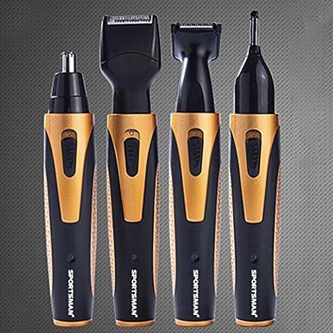 BlackHumor 4 in 1 Face Shaving Grooming Set, Waterproof Rechargeable 360 degree Nose Ear Hair Trimmer, Electric Beard Sideburn Eyebrow Underarms Hair Shaver Razor (Beard Trimmer Japan)