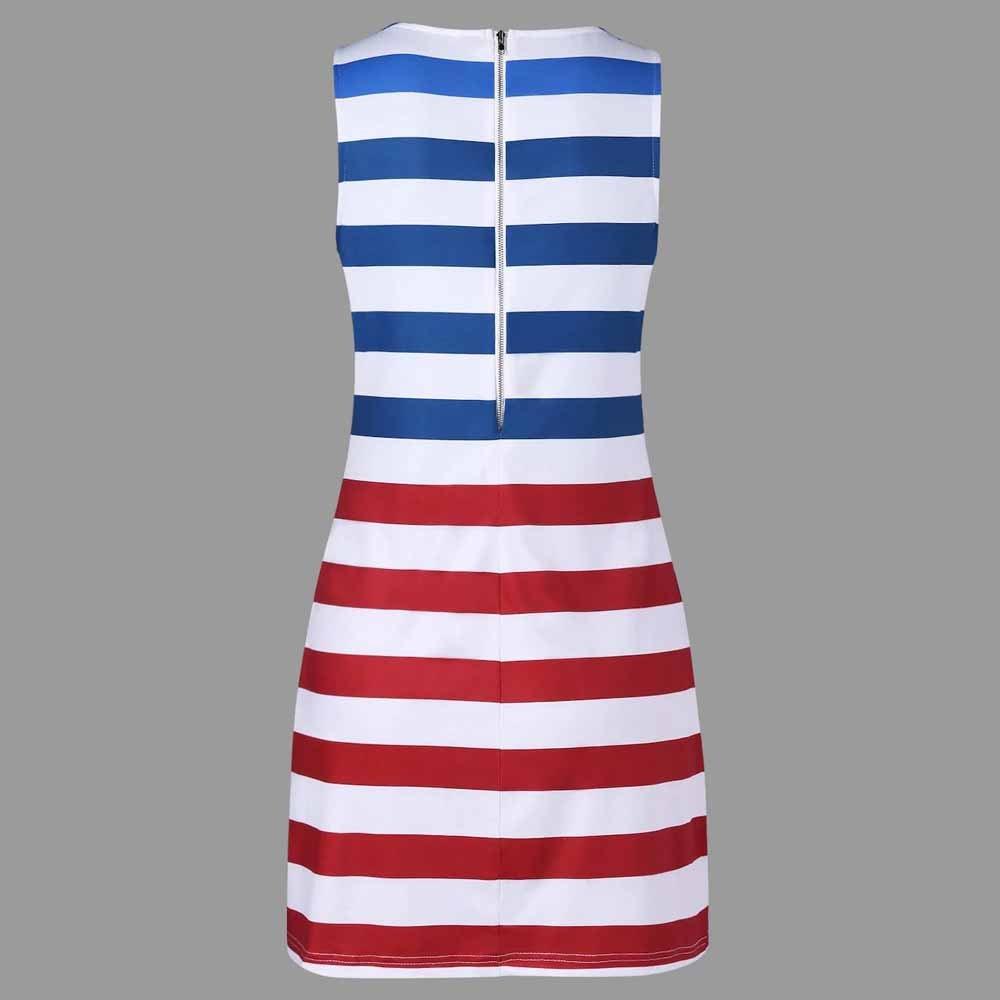 Women American Flag Vest Dress Printed Stripe Stitching O-Neck Sleeveless Maxi Mini Dress (S, Multicolor) by S&S-women (Image #4)
