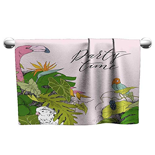 Bath Towels Hand Drawn Branches and Leaves of Tropical Plants Monochrome Floral Bunch with Bird Flamingo Parrot Cockatoo Black and White Coloring Page for Adult Vector Sketch 1 32 x -