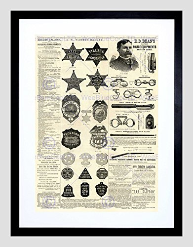 MAGAZINE PAGE POLICE EQUIPMENT SHERIFF BADGE USA FRAMED ART PRINT MOUNT ()