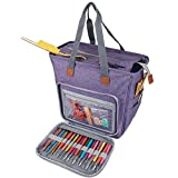 Luxja Knitting Tote Bag, Yarn Storage Bag for Carrying Projects, Knitting Needles, Crochet Hooks and Other Accessories, Purple
